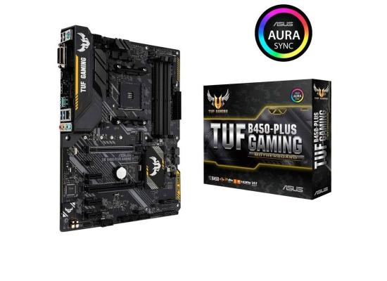 ASUS TUF GAMING B450-PLUS ATX Gaming Motherboard with Aura Sync RGB LED lighting