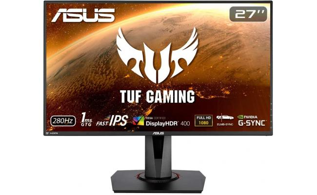 ASUS TUF Gaming VG279QM HDR Gaming Monitor 27 inch Full HD, Fast IPS, Overclockable 280Hz 1ms ELMB SYNC, G-SYNC Compatible