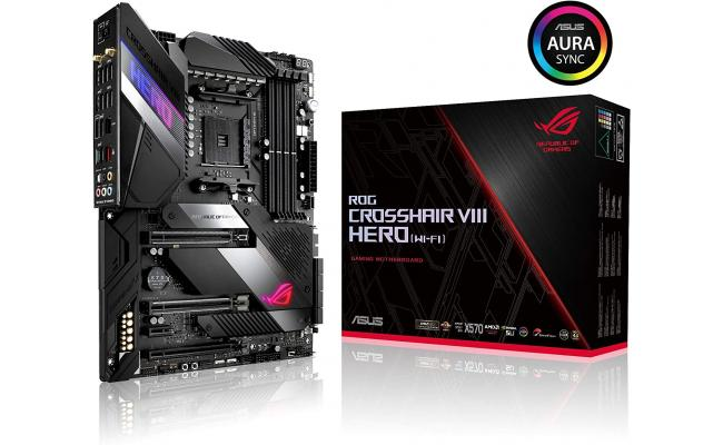 ASUS ROG Crosshair VIII Hero (WI-FI) AMD X570 ATX gaming motherboard with PCIe 4.0, 16 power stages , OptiMem III, on-board Wi-Fi 6 (802.11ax)