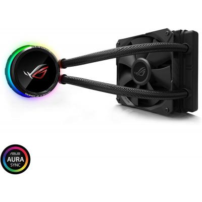 ASUS ROG Ryuo 120 all-in-one liquid CPU cooler with color OLED, Aura Sync RGB, and ROG 120mm radiator fan