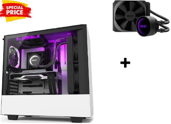 NZXT H510i MATTE (BLACK / WHITE / RED) TEMPERED GLASS GAMING CASE + NZXT M22 120MM AIO RGB WATER COOLER (BUNDLE)