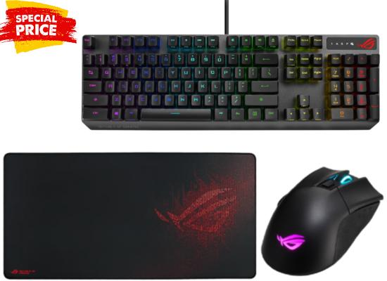 ASUS ROG Strix Scope RX RGB  KeyBoard + ASUS ROG Gladius II Wireless RGB Mouse + ASUS ROG Sheath Extended Mouse Pad