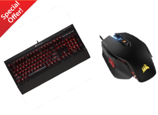 CORSAIR K68 MECHANICAL GAMING RED BACKLIGHT CHERRY MX RED KEYBOARD + CORSAIR M65 RGB 12,000 DPI WIRED MOUSE (BUNDLE)