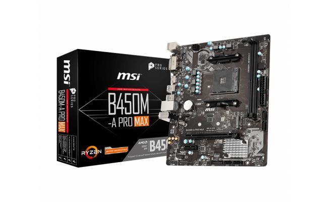 MSI AMD B450M-A PRO MAX AM4 Micro ATX DDR4 M.2, USB 3 -  Motherboard