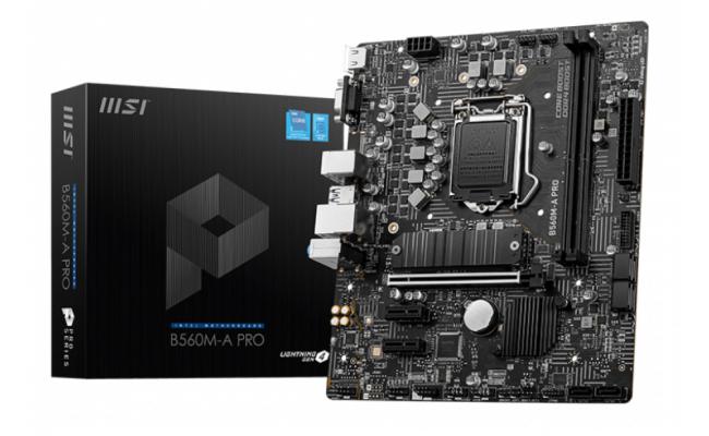 MSI B560M-A PRO LGA 1200 Intel B560 11th & 10th Intel CPUs Pcie Gen 4.0 , SATA 6Gb/s Micro ATX Intel Motherboard