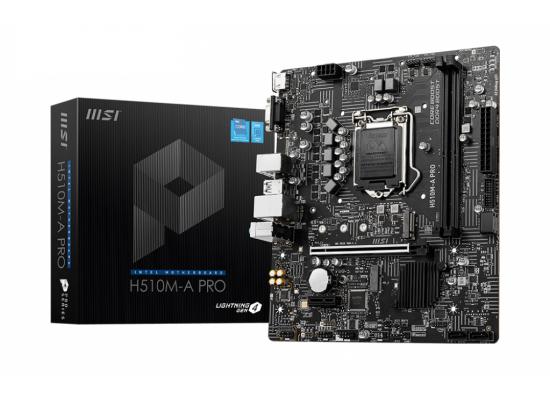 MSI H510M-A PRO LGA 1200 Intel H510 11th & 10th Intel CPUs SATA 6Gb/s M.2 mATX Intel Motherboard