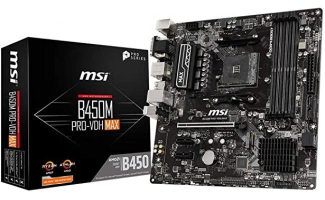 MSI AMD B450M PRO-VDH Max AM4 Micro ATX DDR4-SDRAM Motherboard