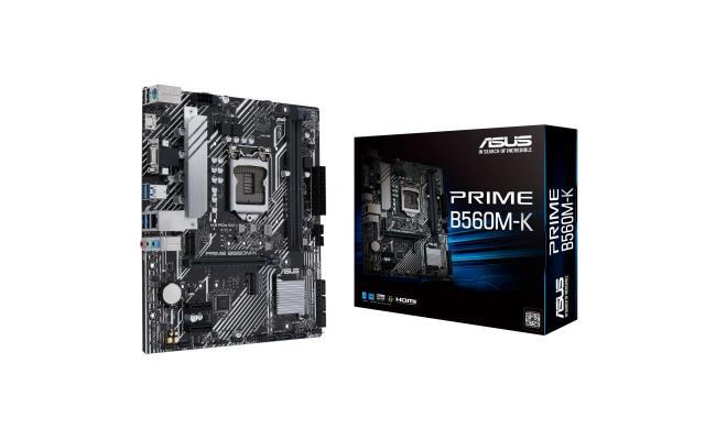 ASUS PRIME B560M-K (LGA 1200), PCIe 4.0,two M.2 slots, Intel® 1 Gb Ethernet, DisplayPort, dual HDMI, USB 3.2 Gen 2 Type-C®, V-M.2 Key E slot for Wi-Fi , Aura Sync, Addressable RGB, mATX Motherboard