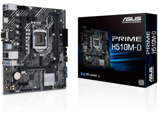 ASUS PRIME H510M-D (LGA 1200) with PCIe 4.0, 32Gbps M.2 slot, Intel® 1 Gb Ethernet, HDMI, D-Sub, USB 3.2 Gen 1 Type-A, SATA 6 Gbps, COM port, LPT header, RGB header , micro ATX Motherboard
