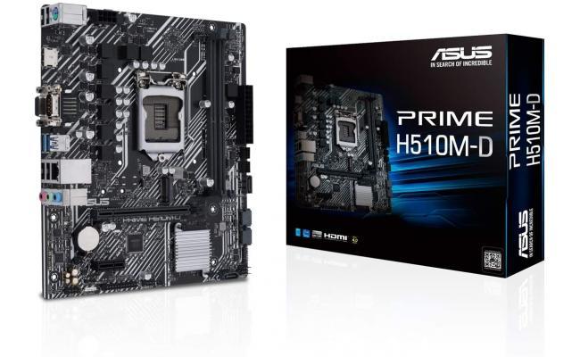 ASUS PRIME H510M-D (LGA 1200) with PCIe 4.0, 32Gbps M.2 slot, Intel® 1 Gb Ethernet, HDMI, D-Sub, USB 3.2 Gen 1 Type-A, SATA 6 Gbps, COM port, LPT header, RGB header , micro ATX Motherboard