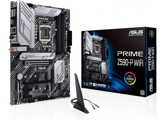ASUS Prime Z590-P WiFi 6 (Dual Band) + Bluetooth v5.0 or later LGA 1200 (Intel 11th/10th Gen) ATX Motherboard (PCIe 4.0, 3X M.2 WiFi 6, 2.5Gb LAN, Front Panel USB 3.2 Gen 2 USB Type-C, Thunderbolt 4 Support Aura Sync RGB