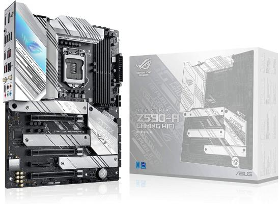 ASUS ROG STRIX Z590-A Gaming WiFi 6 LGA 1200(Intel 11th/10thGen) ATX White Scheme Gaming Motherboard (PCIe 4.0, 14+2 Power Stages, WiFi 6, Intel 2.5 Gb LAN, Thunderbolt 4, 3X M.2/NVMe SSD, Aura RGB