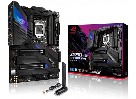 ASUS ROG STRIX Z590-E Gaming WiFi 6E + BT5.2  LGA 1200(Intel 11th/10th Gen) ATX Gaming Motherboard (PCIe 4.0, 14+2 Power Stages, DDR4 5333+, Dual Intel 2.5 Gb LAN,Thunderbolt 4, 4xM.2/NVMe SSD and Aura RGB)