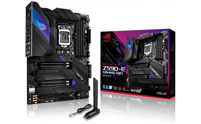 ASUS ROG STRIX Z590-E Gaming WiFi 6E + BT5.2  LGA 1200(Intel 11th/10th Gen) ATX Gaming Motherboard (PCIe 4.0, 14+2 Power Stages, DDR4 5333+, Dual Intel 2.5 Gb LAN,Thunderbolt 4, 4xM.2/NVMe SSD and Aura RGB)