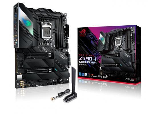 ASUS ROG STRIX Z590-F Gaming WiFi 6E + BT5.2  LGA 1200(Intel 11th/10th Gen) ATX Gaming Motherboard (PCIe 4.0, DDR4 5333 , Dual Intel 2.5 Gb LAN,4xM.2/NVMe SSD and Aura RGB