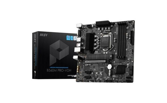 MSI B560M PRO-VDH 11th/10th Gen Intel Core, LGA 1200 Socket, DDR4, PCIe 4, CFX, M.2 Slots, USB 3.2 mATX Motherboard