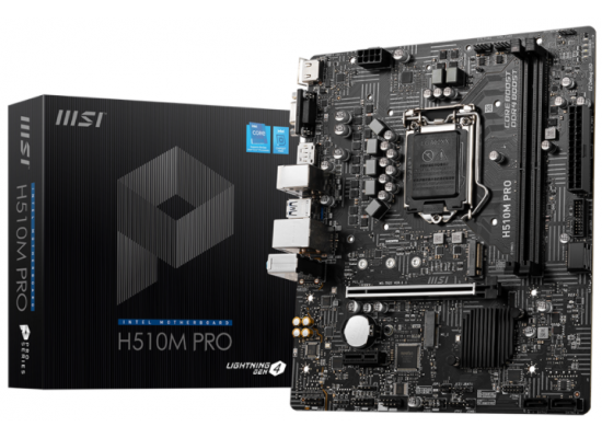 MSI H510M PRO LGA 1200 Intel H510 11th & 10th Intel CPUs SATA 6Gb/s Micro ATX Intel Motherboard
