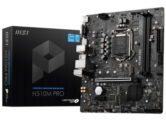 MSI H510M PRO LGA 1200 Intel H510 11th & 10th Intel CPUs SATA 6Gb/s Micro ATX Intel Motherboard
