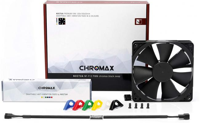 Noctua NF-F12 PWM chromax.Black.swap, Premium Quiet Fan, 4-Pin (120mm, Black)