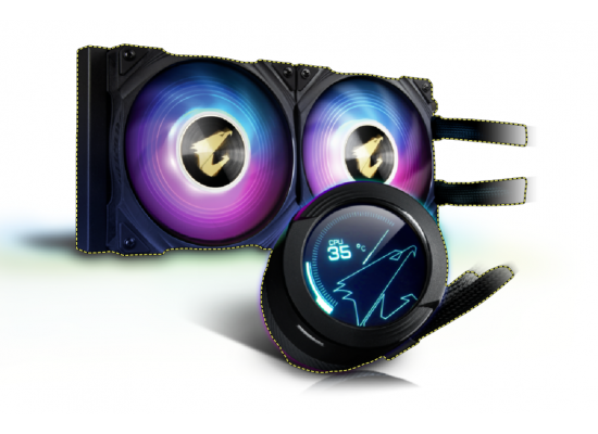 AORUS WATERFORCE X 240, All-in-one 240mm Liquid Cooler with Circular LCD Display, RGB Fusion 2.0, 120mm ARGB Fans