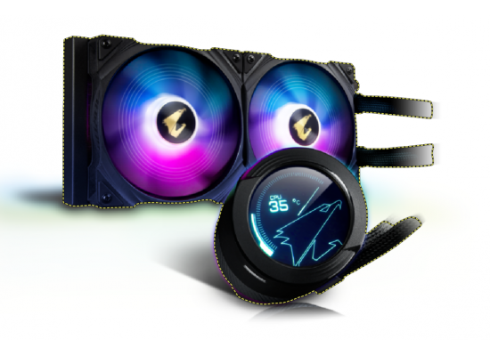 AORUS WATERFORCE X 280, All-in-one 280mm Liquid Cooler with Circular LCD Display, RGB Fusion 2.0, 120mm ARGB Fans