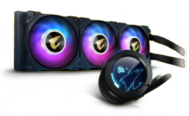 AORUS WATERFORCE X 360, All-in-one 360mm Liquid Cooler with Circular LCD Display, RGB Fusion 2.0, 120mm ARGB Fans