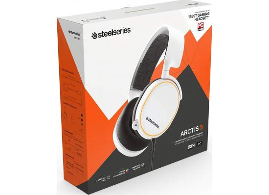 SteelSeries Arctis 5 with DTS Headphone: X v2.0 - 7.1 Surround Sound For Ps4, Ps5 ,& PC - RGB Illuminated White Gaming Headset