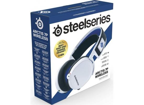 SteelSeries Arctis 7P Wireless 24-hour battery life For Ps4, Ps5 ,& PC - Lossless 2.4 GHz Wireless White Gaming Headset
