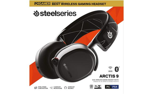 SteelSeries Arctis 9 Wireless - Bluetooth 20+ Hour Battery Life PC, PS, Xbox &Mac -Black Gaming Headset