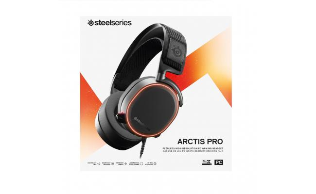 SteelSeries ARCTIS PRO High Resolution-DTS Headphone: X v2.0 Surround for PC, Wired USB Black Gaming Headset