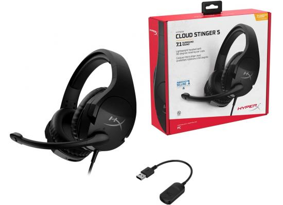 HyperX Cloud Stinger S 7.1 Wired Gaming Headset, for PC,Lightweight, Memory Foam,Swivel-to-Mute Noise-Cancelling Microphone, Black
