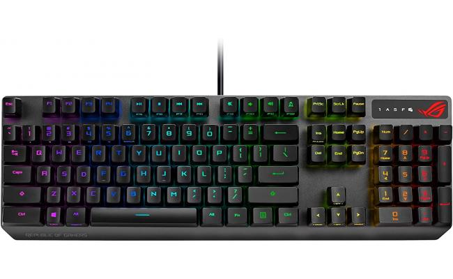 ASUS ROG Strix Scope RX optical RGB gaming keyboard for FPS gamers, with ROG RX Optical Mechanical Red Switches, IP56 water and dust resistance, alloy top plate