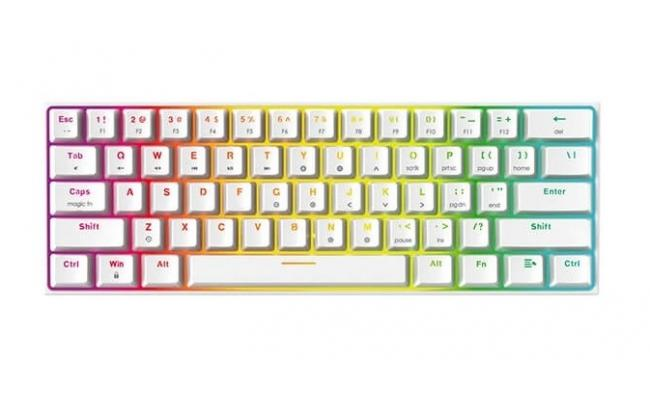 FANTECH MAXFIT61 RGB Wired 60% Mechanical Keyboard, 61 Keys Hot Swappable Type-C Programmable Gaming Keyboard, Blue Switch-White
