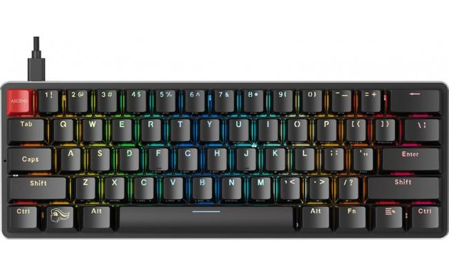 Glorious GMMK COMPACT (60%) , Modular Mechanical Gaming Keyboard - US (ANSI) 61/62 Keys -Removable USB Cord , RGB LED Backlit, Hot Swap Switches (Black/Brown Switches)
