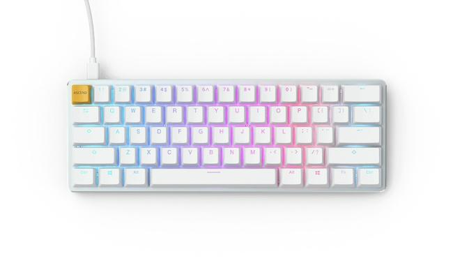 Glorious GMMK COMPACT (60%) , Modular Mechanical Gaming Keyboard - US (ANSI) 61/62 Keys -Removable USB Cord , RGB LED Backlit, Hot Swap Switches (White Ice Edition/Brown Switches)