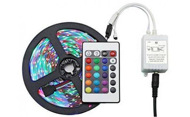 RGB Multicolor Led Strip Light,With Adapter & Remote Control, 5m