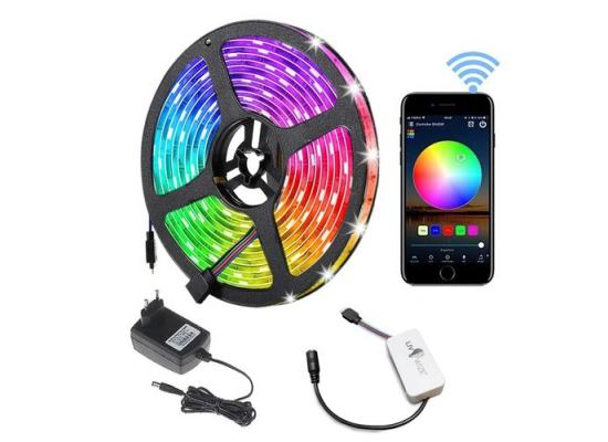 Samrt RGB Multicolor Led Strip Light, With Wifi Adapter & Remote Control, 5m
