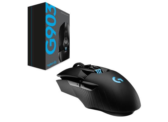 Logitech G903 Lightspeed Wireless Gaming Mouse With Hero Sensor 16,000 DPI up to 140 hours Battery Life , Black