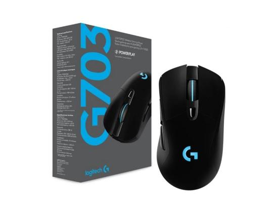 Logitech G703 Wireless  Lightspeed 16,000DPI Gaming Mouse with Wireless Charging Compatibility, Black