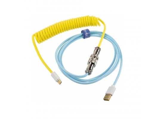 Ducky Horizon Premicord Custom KeyBoard USB Cable w/ Coil - Cotton Candy Edition