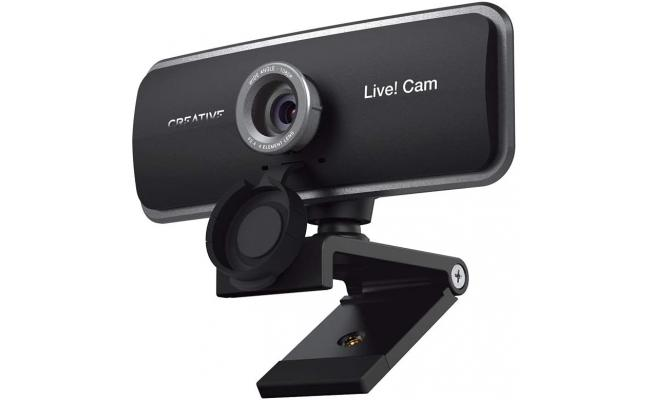 Creative Live! Cam Sync 1080p Full HD Wide-Angle USB Webcam with Dual Built-in Mic, Privacy Lens Cap, Universal Tripod Mount, High-res Video Calling, Recording, Streaming for PC or Mac