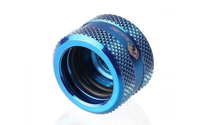 Bykski Rigid, Fine diamond pattern hard tube fast screw G1/4 thread 4 layer seal 16mm OD Fitting V2, Blue (B-HTJV2-L16)