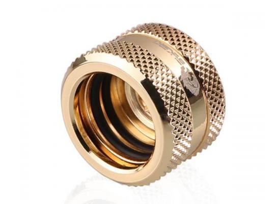 Bykski Rigid, Fine diamond pattern hard tube fast screw G1/4 thread 4 layer seal 16mm OD Fitting V2, Gold (B-HTJV2-L16)