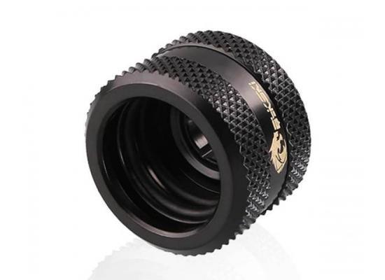 Bykski Rigid, Fine diamond pattern hard tube fast screw G1/4 thread 4 layer seal 16mm OD Fitting V2, Black (B-HTJV2-L16)