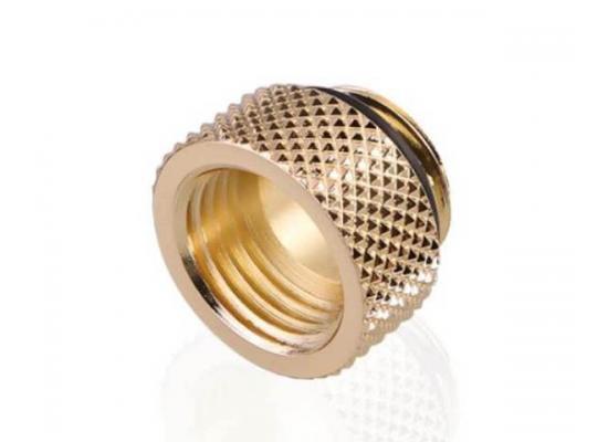 Bykski G 1/4in. Male/Female Extension Coupler, Fine Diamond 7.5mm Pattern Extension G1/4 Internal Thread, Gold (B-EXJ-7.5)