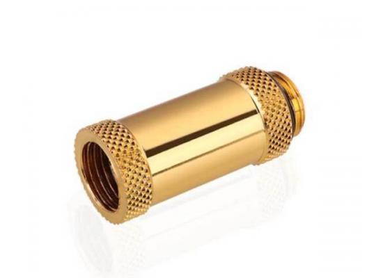 Bykski G 1/4in. Male/Female Extension Coupler, Fine Diamond Pattern 35MM Extension G1/4 Female Thread Extension, Gold (B-EXJ-35)