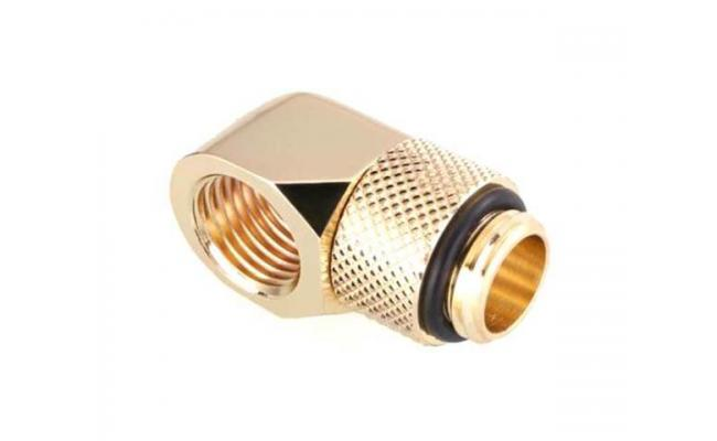 Bykski G 1/4in. Male to Female 90 Degree Rotary Elbow Fitting, Gold (B-RD90-X)