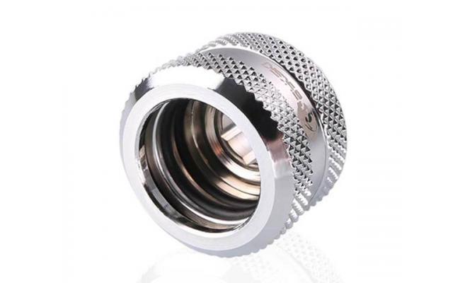 Bykski Rigid, Fine diamond pattern hard tube fast screw G1/4 thread 4 layer seal 16mm OD Fitting V2, Silver (B-HTJV2-L16)