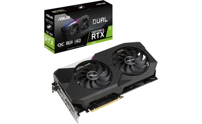 ASUS Dual GeForce RTX 3070 OC Edition 8GB GDDR6 192-bit - Graphics Card (On Custom Build Only)