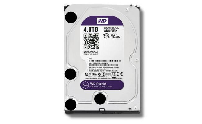 Western Digital Purple HDD Desktop Storage 4TB Surveillance 5400RPM SATA 6 Gb/s, 64 MB Cache - 3.5 Hard Drive